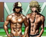 筋肉をくらべあう二人のヒーロー