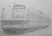 落書鉛筆画 - 東京地下鉄6000系6021