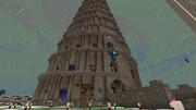 MineCraft、せっせとバベルの塔を建てる静画:01