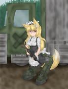 改造獣耳兵器。逆足狐メイド。