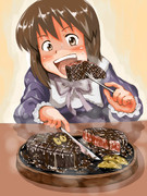ステーキを食べる雪歩