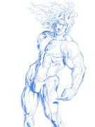 アニメジョジョに柱の男・サンタナがそろそろ出そうなんで描いてみた。まだ線画だけど(´◔◞౪◟◔)