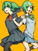 ちっちゃい緑髪美少女高校生