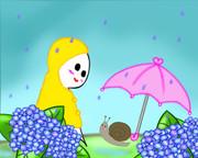 梅雨の中の出会い。