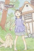 少女と犬と鳥
