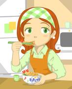 エビ天丼を食べるキュキュットさん