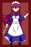 メイドさんがリンゴを斬ろうとしてるだけの絵