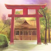 夕暮れどき神社