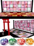 【ステージ配布】和風紅梅セットと和丸クッション