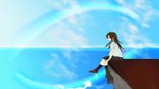 虹に向かう女の子