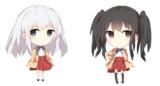 ツインテ黒髪女の子と白髪女の子2