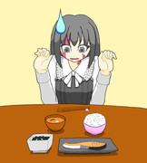 シルヴィちゃんに日本食を与えてみよう!その1「鮭定食」