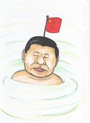 靖国神社の池に中国国旗