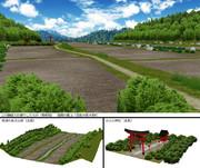 田畑のある山間 と 小さな神社