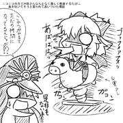 沖田さんが乗馬マシンで激しく前後運動する絵