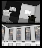窓と白黒の部屋