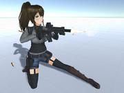 89式小銃改を撃つ女の子 3D
