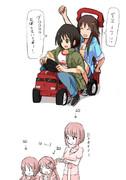 買い物に来た原田と姫川と鷹冨士