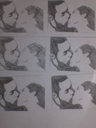 私は幸せなキスのラミネートカードを作って配布