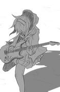 ギターの練習をしている多田李衣菜