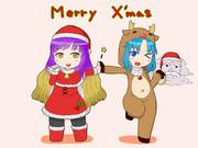 聖白蓮と一輪のクリスマス絵