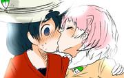 二人は幸せなキスであいさつするんだー!すごいねー!