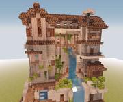 【Minecraft】滝と家