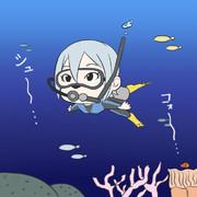 水中で自己紹介する塩見さん