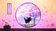 丸窓と朧桜の春