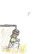すごく遠くから見てくるハシビロコウを警戒するツチノコとサバンナオオナメクジ