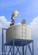 貯水タンクに紅茶パックを投入する金剛