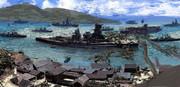 沖合いの古き街と艦船(レタッチ)