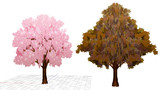 【MMDアクセサリ配布あり】山田式遠景用32頂点桜の木と紅葉の木追加