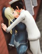 提督に強引にキスされそうになっている愛宕さん