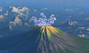 朝日を浴びる火山