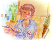 のすじいの昭和色鉛筆戯(ざ)れ絵 喫茶店のソフトクリーム