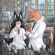 学者ケモノと狐助手さんです♪