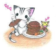 魚肉ステーキにゃんこ
