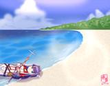 砂浜に流れ着いてるシングルマルタ(オール付き)