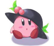 天子ちゃんの帽子を被るカービィちゃん