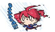 傘が風に飛ばされて無防備のなか暴風雨と戦うテトさん。