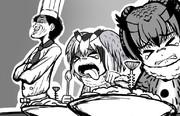 食べ始めの頃、文句を言いつつも大泉の料理を何とか喉に通そうと試みていたコノハ博士とミミちゃん助手