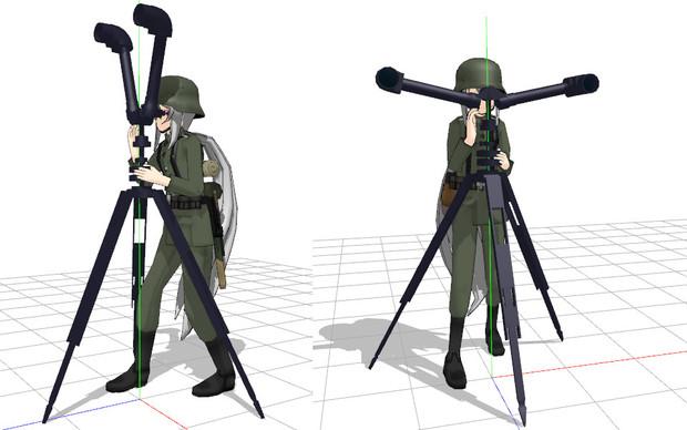 独陸軍服が来ていたので砲兵鏡を。(モデル配布)