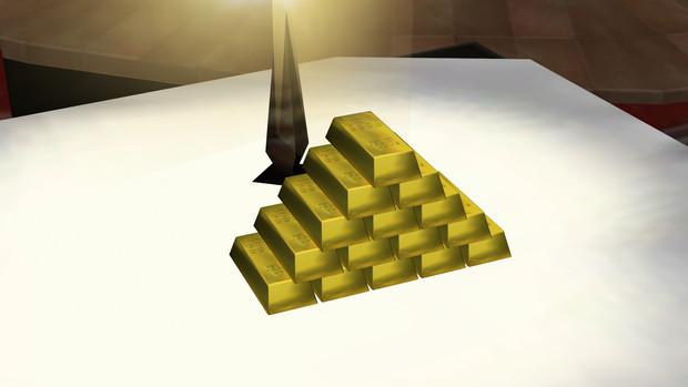 景気づけに金塊を配布します。