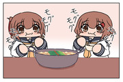 モツ鍋を食べる雷電