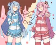 【VOICEROID】琴葉姉妹 追加衣装 バレンタイン(寝巻)【かれい様】