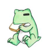 食パンを食べるカエル