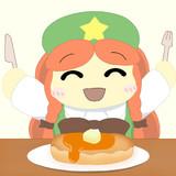 咲夜さん特製の大きなホットケーキに大喜びの美鈴