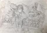 2つのパラレルワールドのグンジ・リク絵軍軍曹とパレッタ・ラ・ファーブル絵軍少尉と柴田犬兵飛曹長