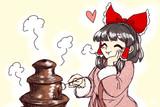 バレンタインにチョコフォンデュを楽しむ霊夢